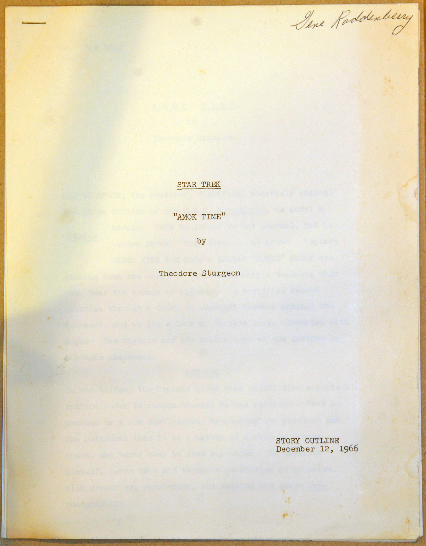 The cover page of the original story outline for the Star Trek episode Amok Time, written by Theodore Sturgeon. The name Gene Roddenberry is written in the corner, and the outline is dated December 12, 1966.
