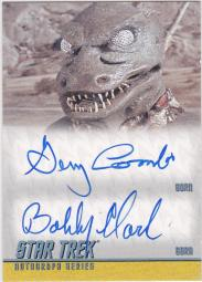 The official Star Trek autograph card for Bobby Clark and Gary Combs, showing the Gorn from the episode Arena