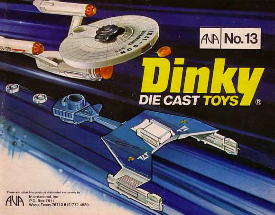 "A catalog image showing the Dinky aluminum Enterprise and Klingon Star Trek ships, and showing that they fire round plastic ""torpedoes."""