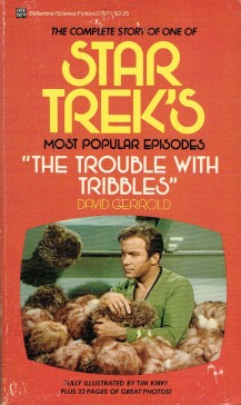 Cover of the book The Trouble With Tribbles, featuring a photo of William Shatner half buried in fuzzy Tribbles