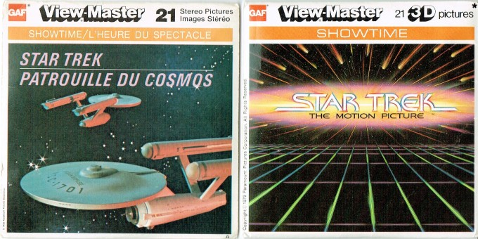 Cover art for the View-Master Star Trek reels for the original series and The Motion Picture