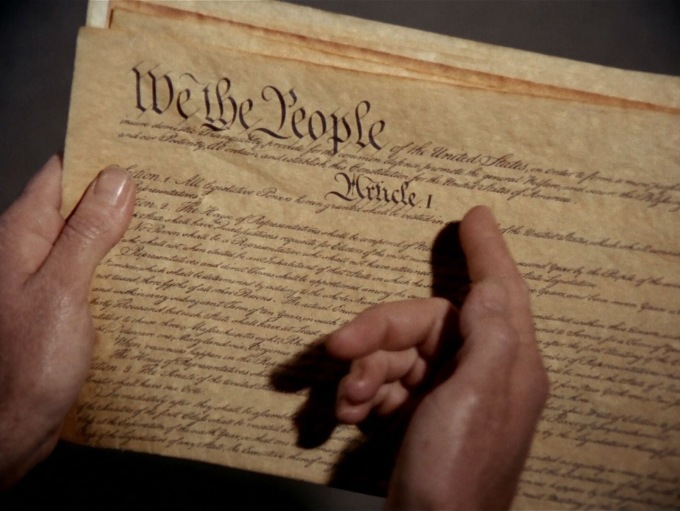 Screen capture from the Star Trek episode The Omega Glory, showing a recreation of the American constitution.