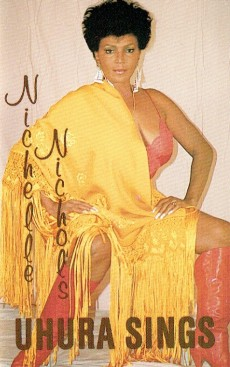 The cover photo of the Uhura Sings album, showing the Star Trek actress Nichelle Nichols in a provocative pose and wearing somewhat revealing clothing.