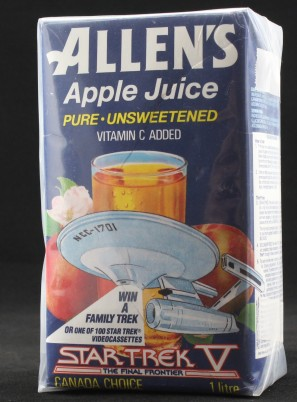 An image of an Allen's apple juice carton, branded for Star Trek V.