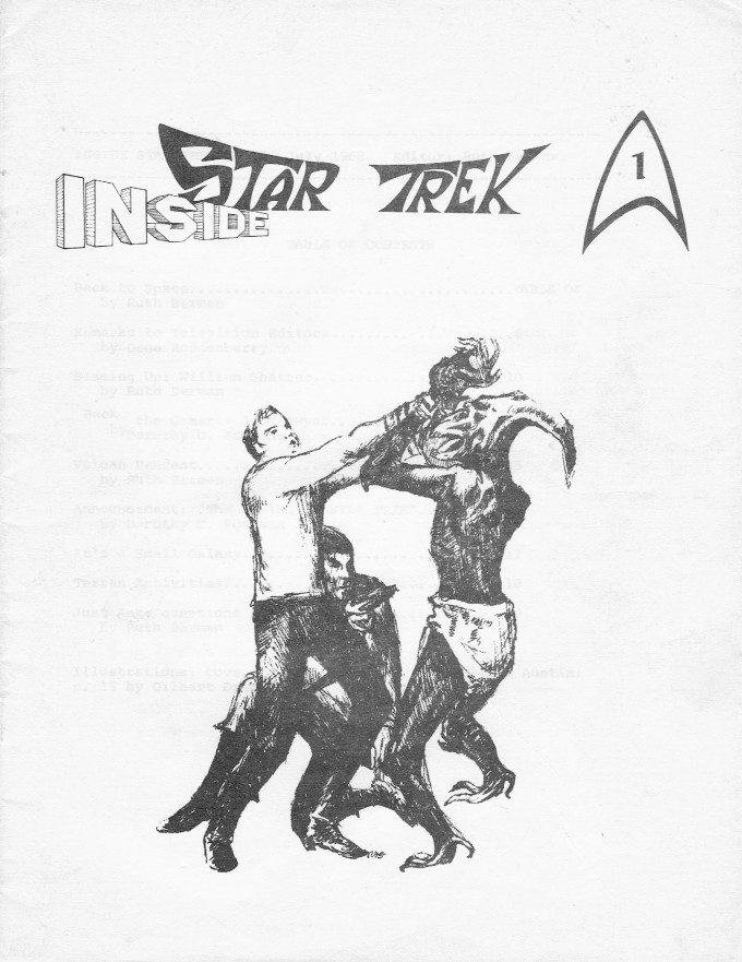 The cover of Inside Star Trek , issue 1, with a drawing of Kirk and Spock fighting an alien.