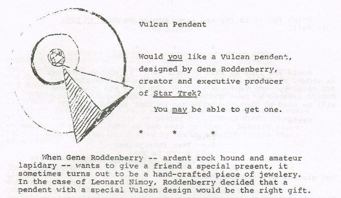 An excerpt from Inside Star Trek. It is an ad asking readers if they would be interested in purchasing a Vulcan IDIC pendant.