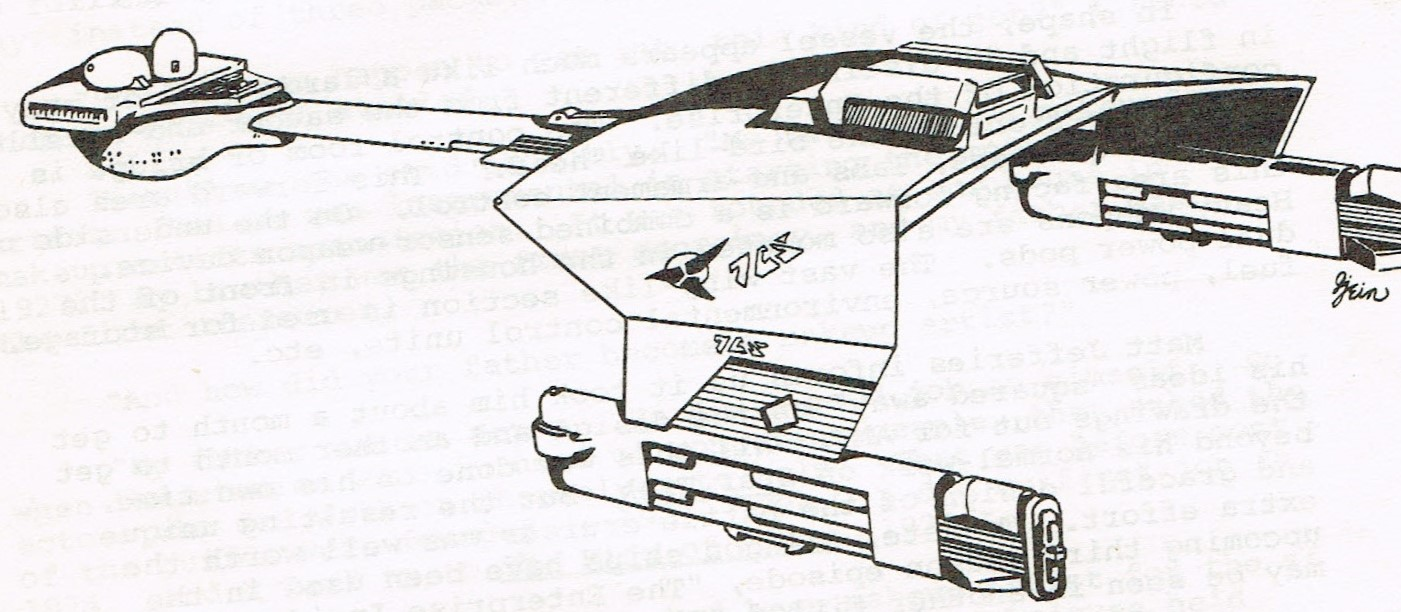 A close-up image of Greg Jein's cover sketch for Inside Star Trek #2 of the Klingon D7 ship.
