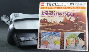 The package for View-Master's Star Trek  reel Mr. Spock's Time Trek, beside a black View-Master viewer.