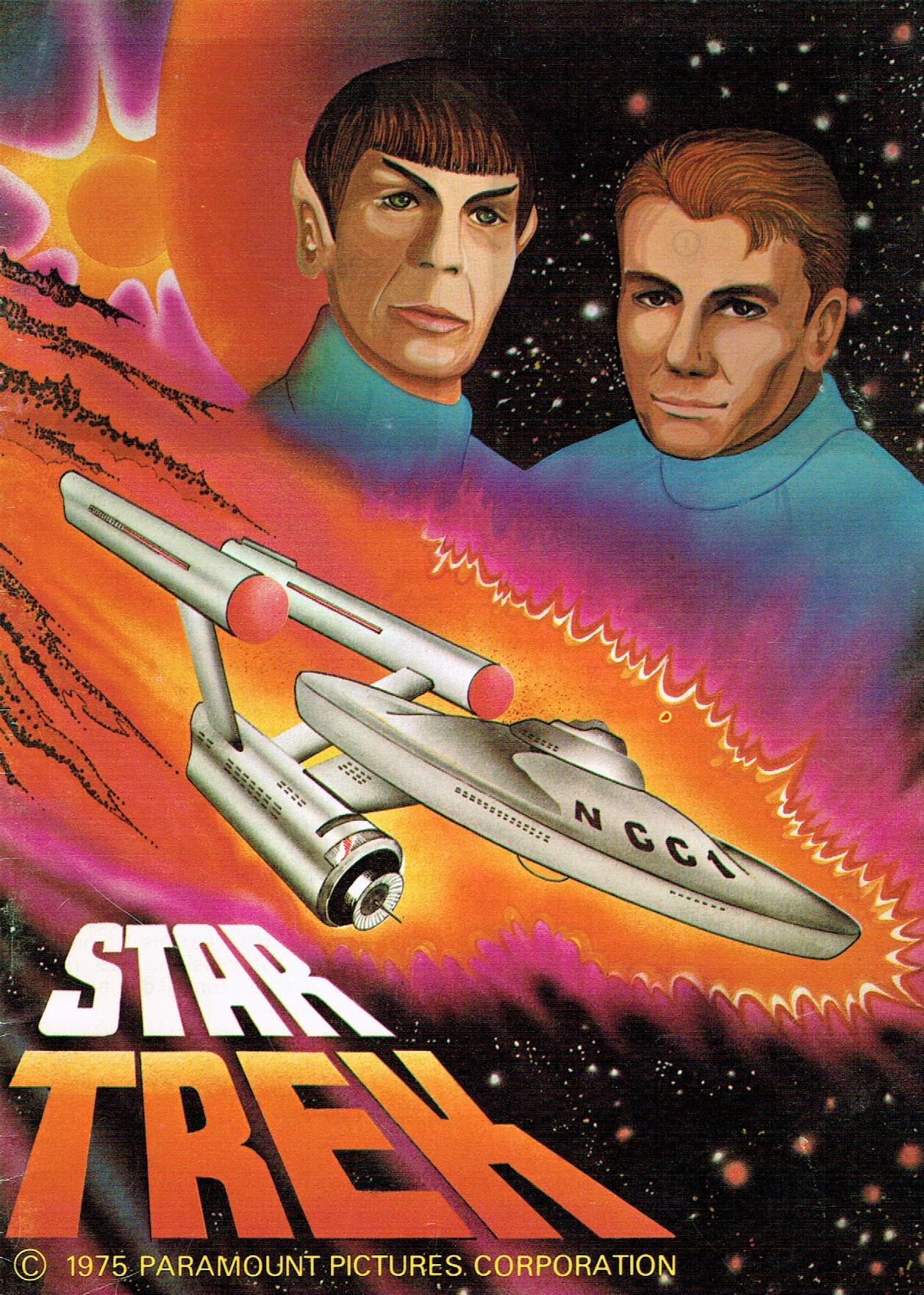The cover of the Star Trek sticker book, depicting the Enterprise and Kirk and Spock.