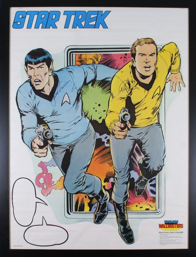 An image of the poster, showing a colour drawing of Kirk and Spock running towards the viewer, each holding a phaser.