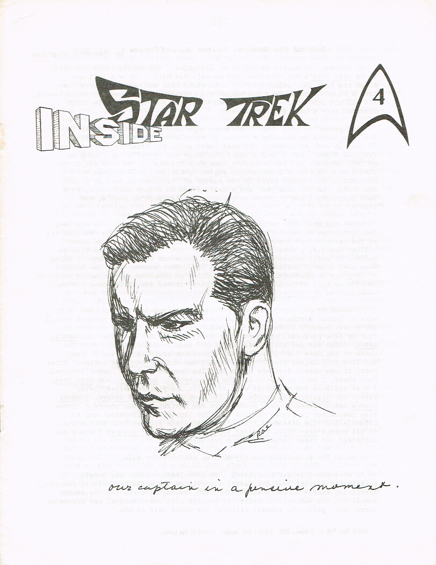 The cover art for Inside Star Trek 4; a sketch of Captain Kirk