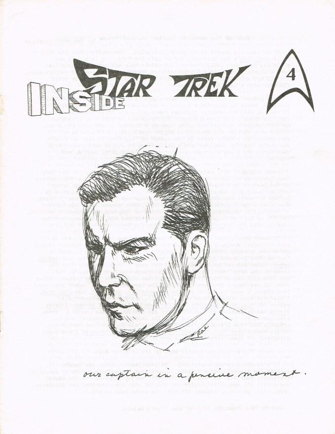 The cover art for Inside Star Trek 4; a sketch of Captain Kirk