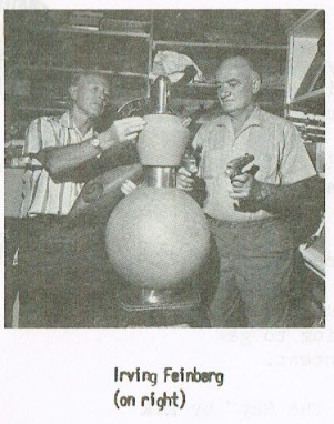 A photo of Irving Feinberg with the cloaking device prop from The Enterprise Incident