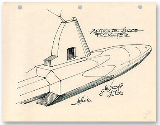 Matt Jefferies original sketch of a space freighter