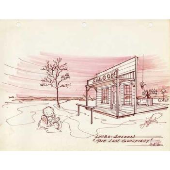Matt Jefferies saloon design sketch for Spectre of the Gun
