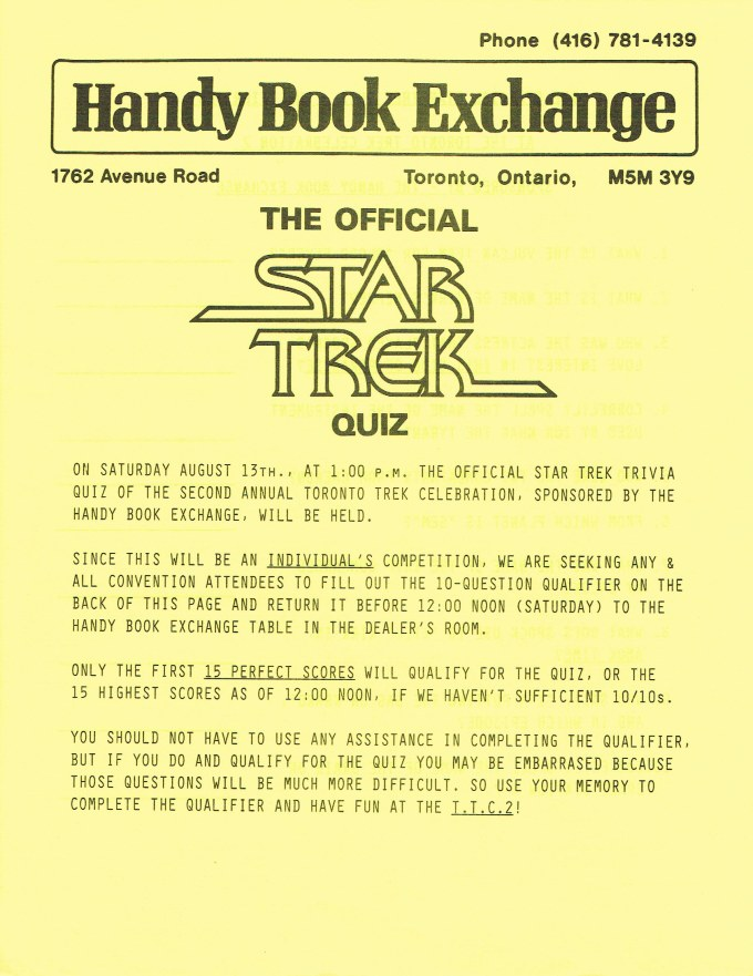 Page one the flyer announcing The Official Star Trek Quiz. This page has the rules.
