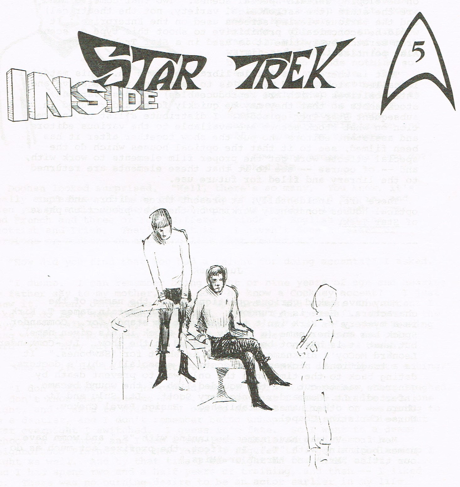 The cover of the Inside Star Trek newsletter, showing a sketch of three crew members on the bridge.