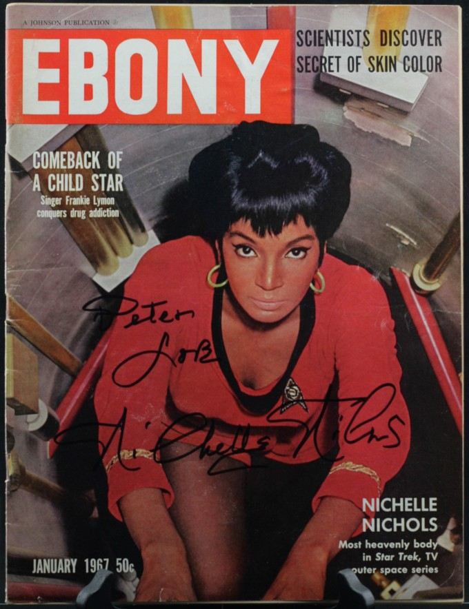 The cover of Ebony magazine from 1967, showing a close-up photo of Nichelle Nichols in her red Star Trek uniform.