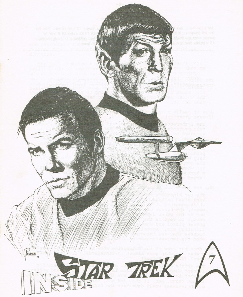 The cover of Inside Star Trek 7, with a drawing of Kirk and Spock with a small Enterprise.