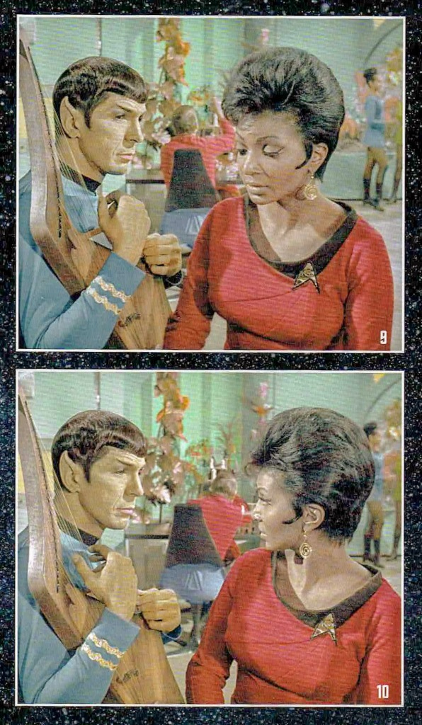 Two photos of a deleted scene from the book Lost Scenes, showing Spock and Uhura discussing Spock's harp on the recreation deck.