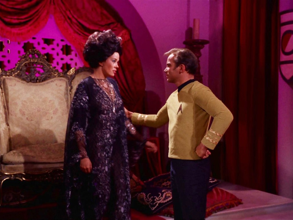 A screen capture from Catspaw, showing Sylvia and Captain Kirk