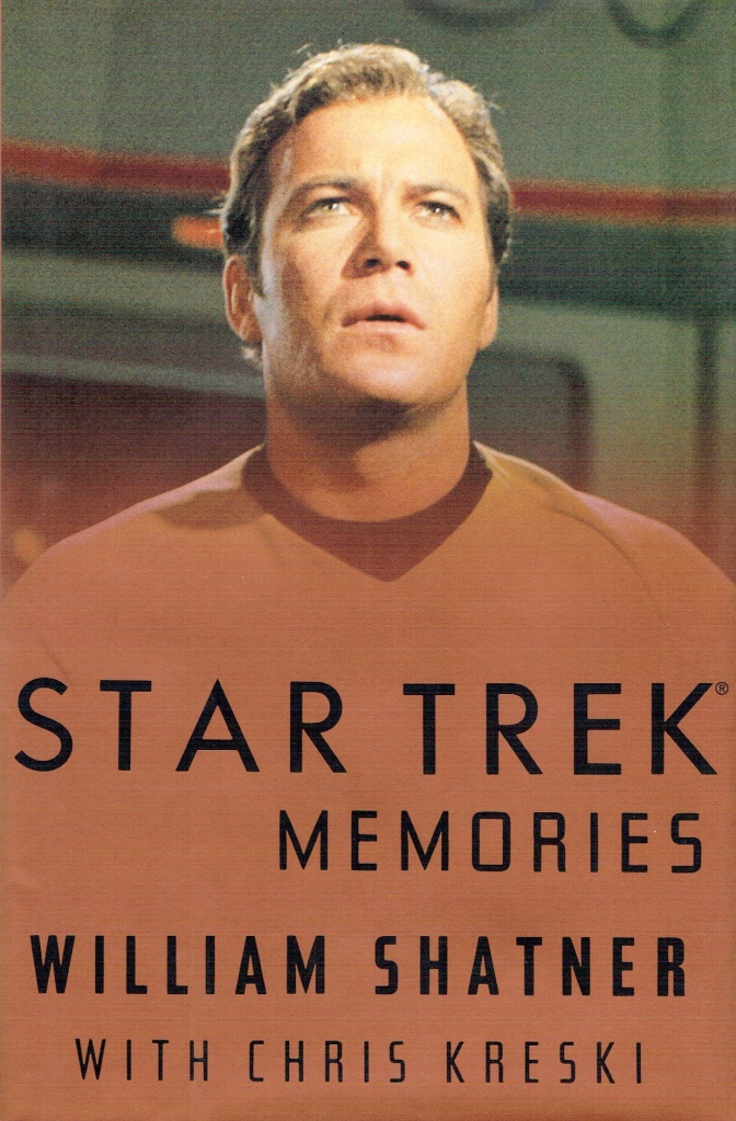 The cover of William Shatner's Star Trek Memories book, with Captain Kirk on the cover