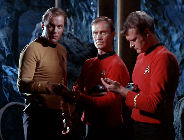A scene from the Star Trek episode The Devil in the Dark, in which Captain Kirk is briefing two security guards on the search for the Horta.