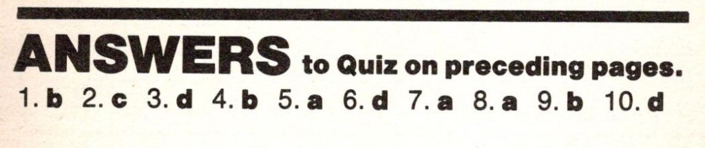 The answers to the quiz