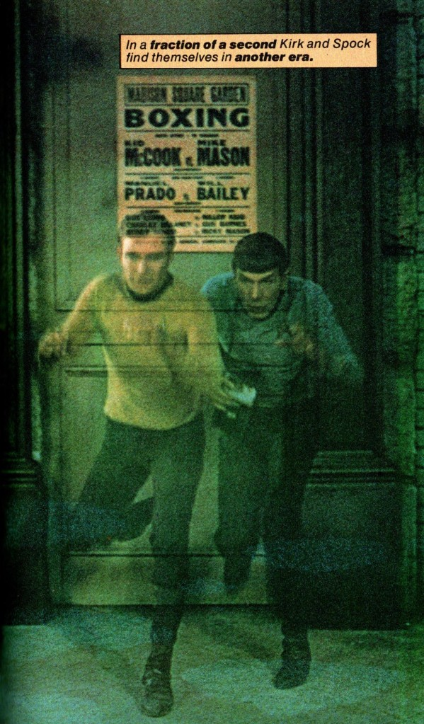 Image from Fotonovel 1, of Kirk and Spock emerging into New York during the Depression.