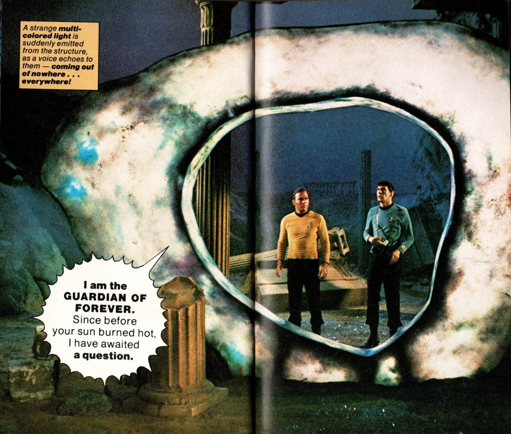 Image from Fotonovel 1, on the planet with the Guardian of Forever and Kirk and Spock.