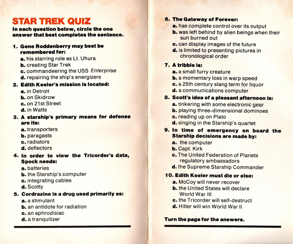 The 10 questions from the Star Trek Quiz in Fotonovel 1