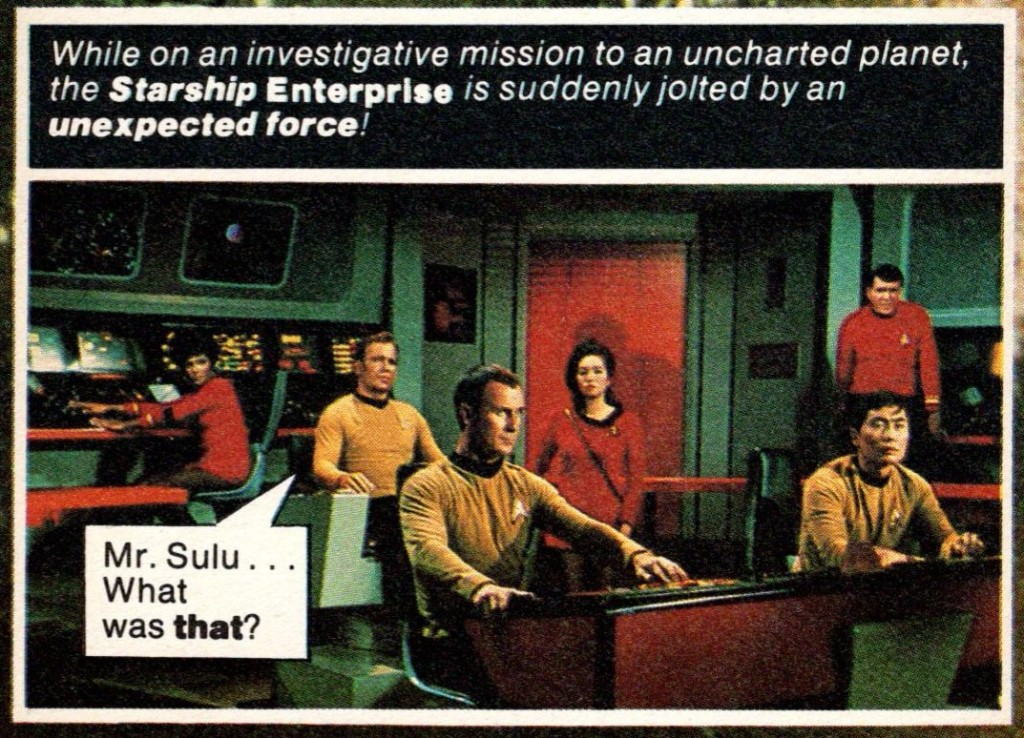An image from Star Trek Fotonovel 1, showing an early bridge scene from The City on the Edge of Forever