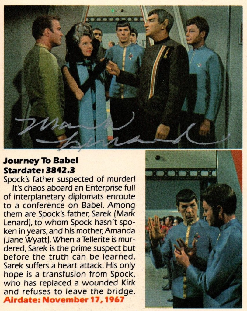 The back of the Journey to Babel VHS package, showing Mark Lenard's autograph.