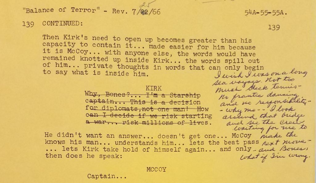 A page from the script for Balance of Terror dated July 25, 1966  and showing Gene Roddenberry's handwritten changes to Kirk's speech to McCoy.