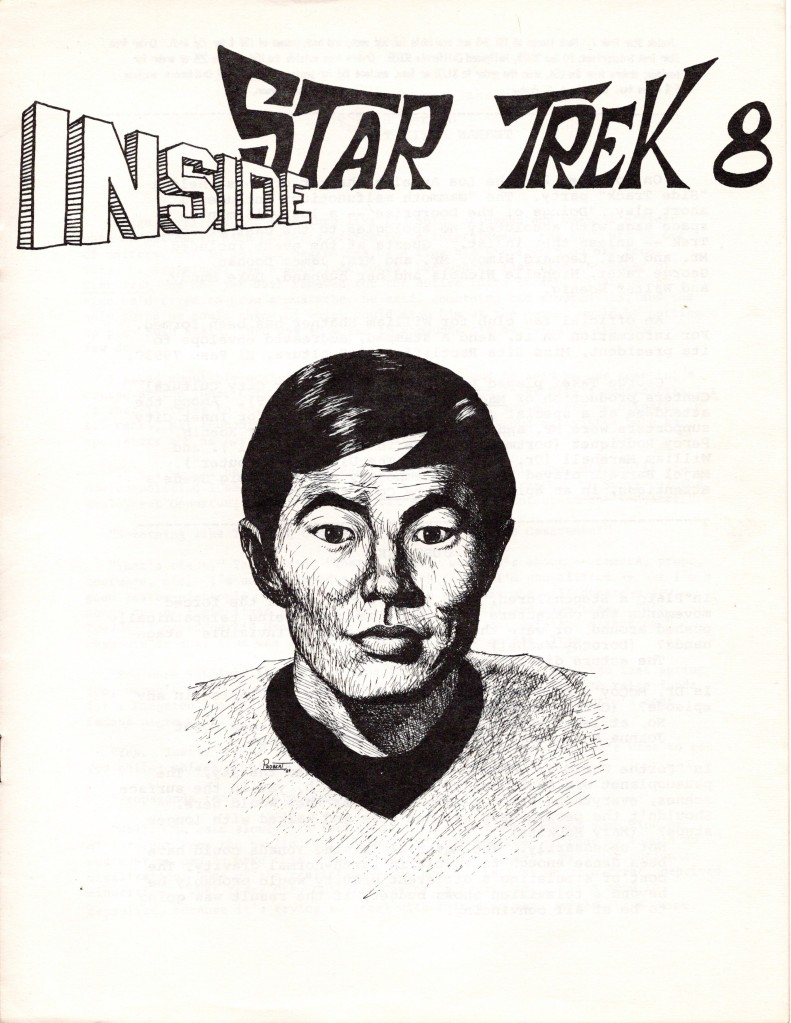 The cover of the Inside Star Trek newsletter, issue 8. The cover is a drawing of Lieutenant Sulu, done by Andrew Probert in 1969.