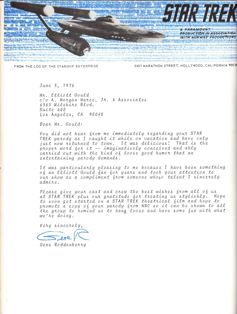 The letter Gene Roddenberry wrote to Elliot Gould, on Star Trek letterhead