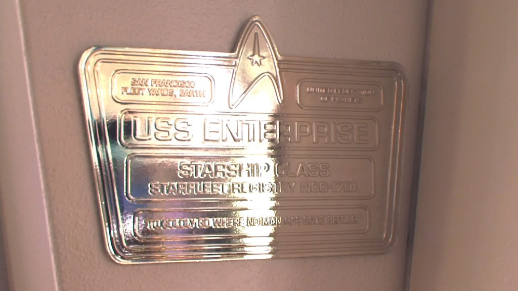 The dedication plaque from the JJ Abrams reboot of Star Trek. It specifies that even his Enterprise is a Starship-class ship.