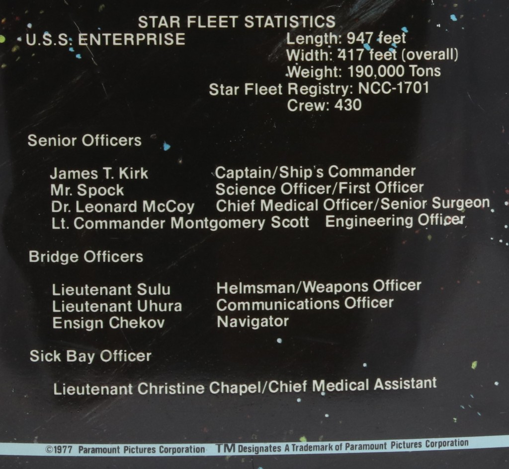 The back of the Cheinco trash can contains stats for the USS Enterprise: length, width, and height; number of crew; and a list of senior and bridge officers.