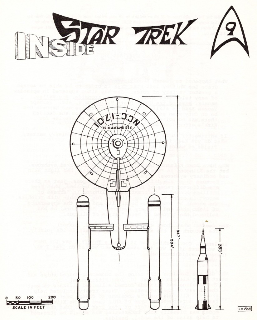 The cover of Inside Star Trek issue 9, showing a top-down drawing of the Enterprise and comparing it in scale to a NASA rocket.