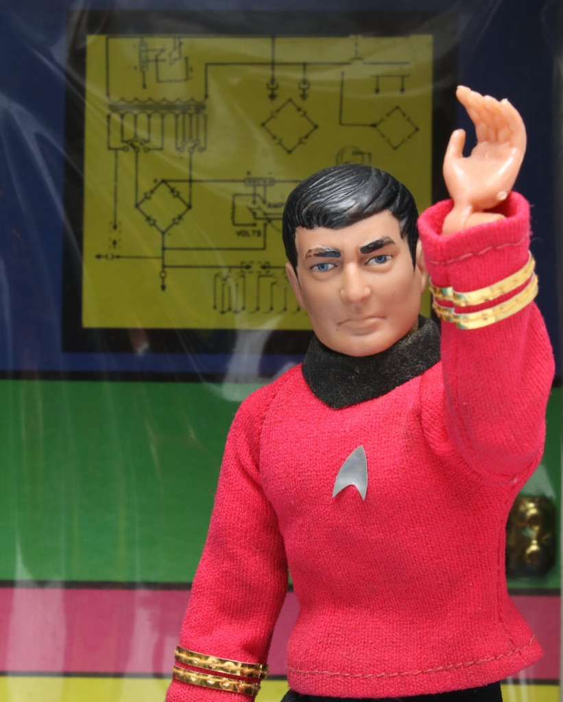 A photo of the Star Trek Mego Enterprise playset, this one of a rather sad-looking Mr. Scott in the engineering alcove of the bridge.