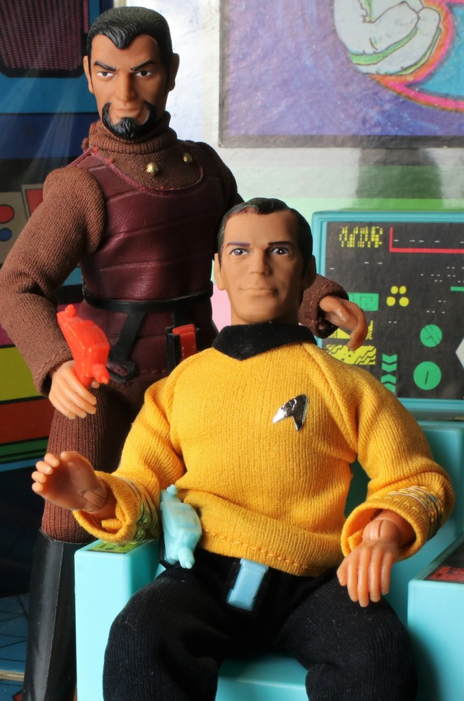 A photo of the Star Trek Mego Enterprise playset, featuring a medium shot of Kirk with the Klingon over his shoulder.