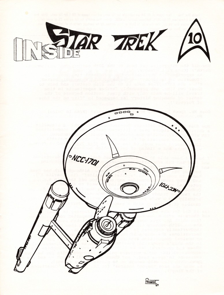 The cover of Inside Star Trek issue 10, with a drawing of the Enterprise from below, done by Andrew Probert in 1969.