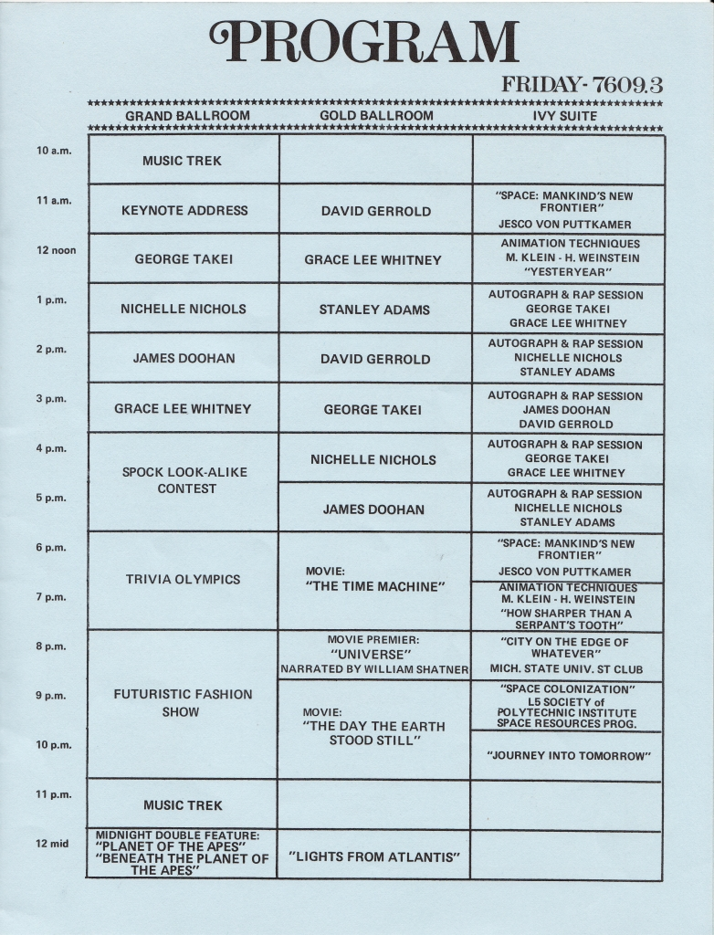 A scan of the program from the Bi-Centennial-10 Star Trek convention from 1976, listing a number of panel discussions.