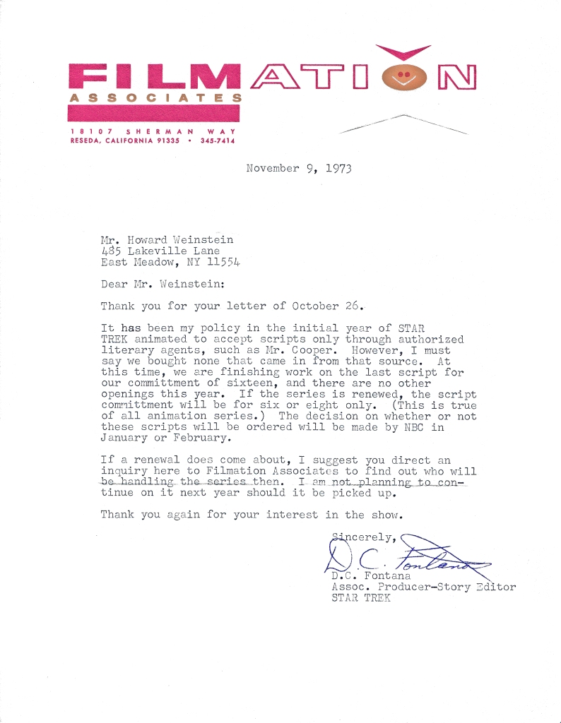 DC Fontana's first letter to Weinstein, explaining she will no longer be associated with Star Trek. It is signed by her in pen.