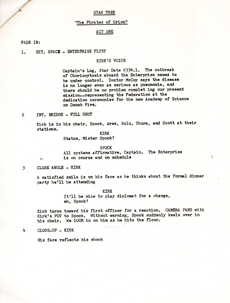 Page 2 of The Pirates of Orion script.