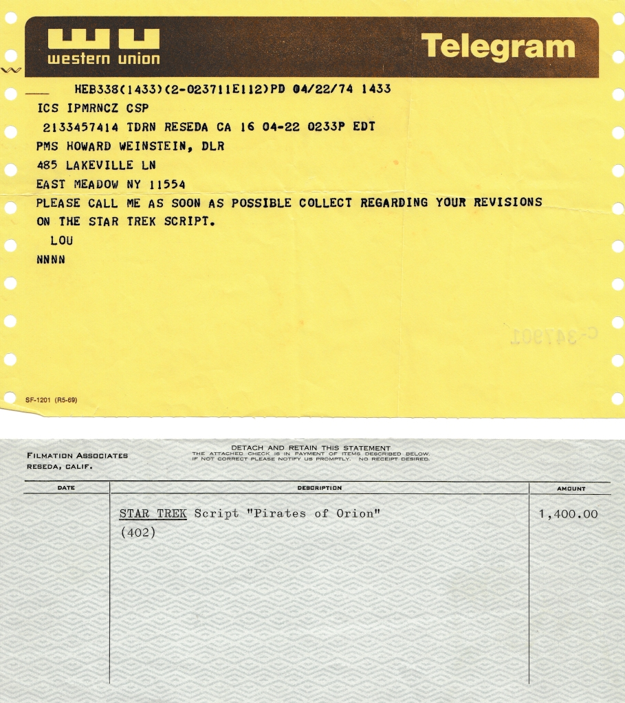 A telegram from Lou Scheimer of Filmation, confirming the sale of the script, and a cheque for $1,400.