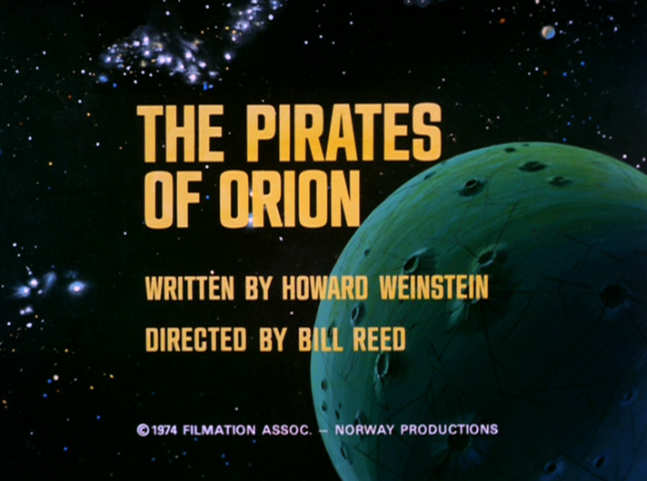 The title card from the episide The Pirates of Orion