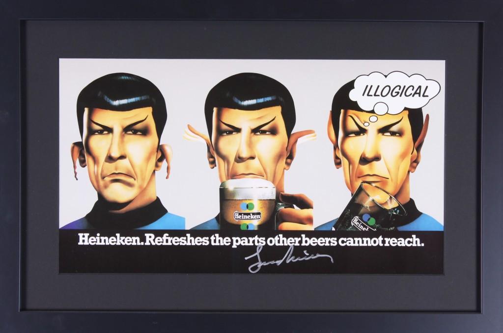 The Heineken Spock beer ad, signed by Leonard Nimoy.