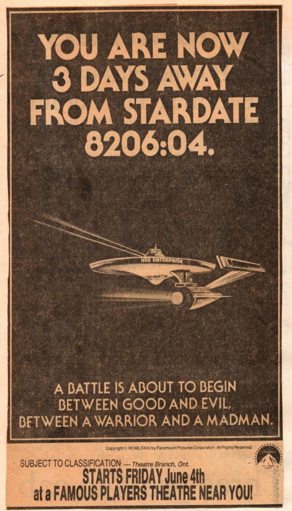 A newspaper ad for Star Trek II, with a poorly drawn Enterprise.