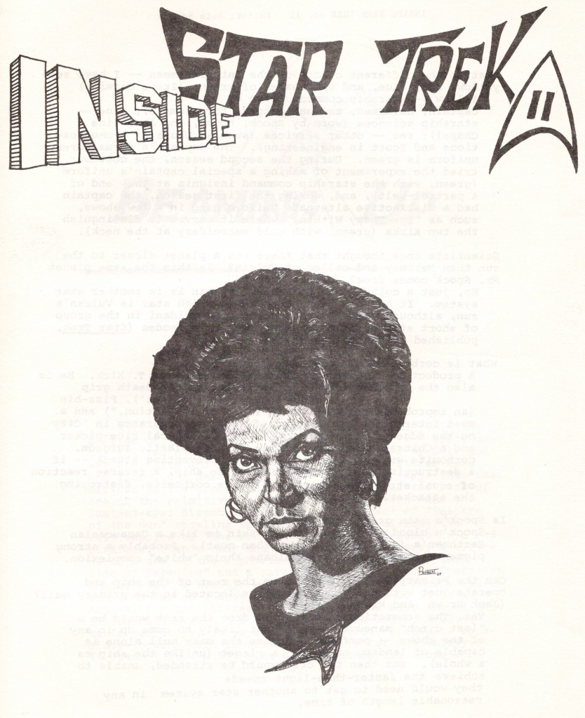 The cover of the Inside Star Trek newsletter, featuring a drawing of Uhura done by Andy Probert.
